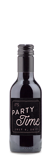 """Mini red wine bottle with """"it's party time"""" label"""