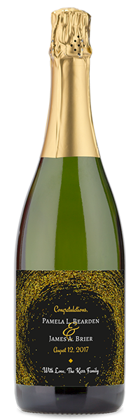"Custom labeled sparkling wine bottle with ""congratulations pamela and james"""