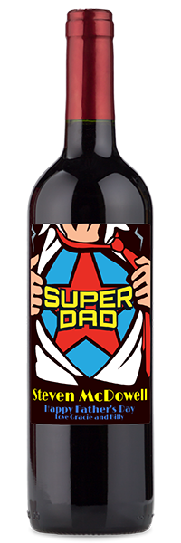 "Red wine bottle with ""super dad happy father's day"" label"