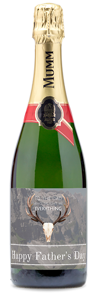"Custom labeled ""Happy Father's Day"" sparkling wine bottle"