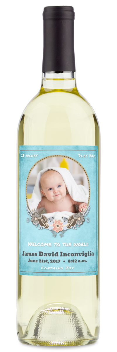 Red wine labeled bottle with blue baby shower invitation