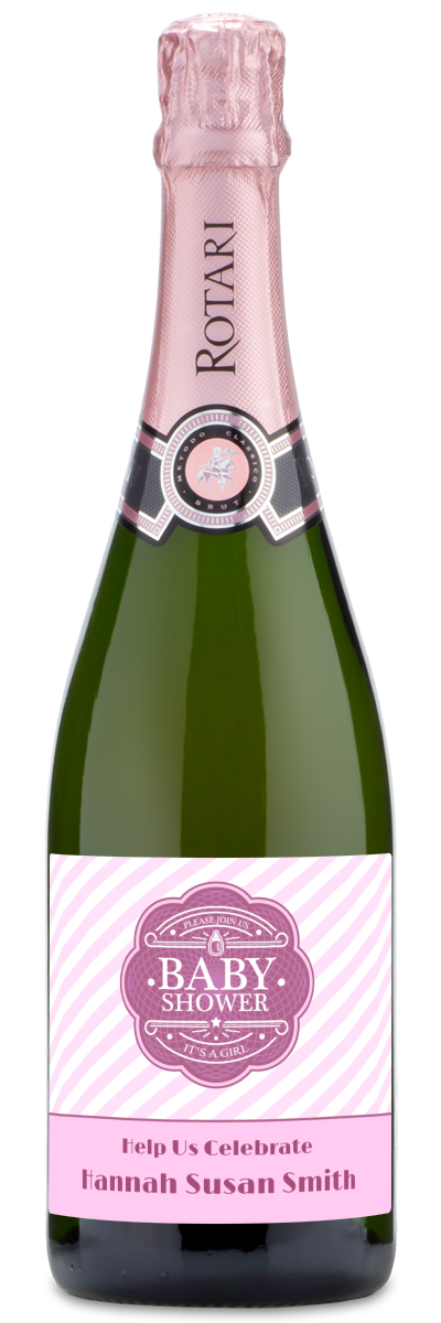 """Red wine bottle engraved with """"its party time"""" and date of baby shower"""